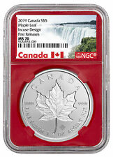 2019 Canada 1 oz Silver Maple Leaf Incuse $5 NGC MS70 FR Red Core SKU57187