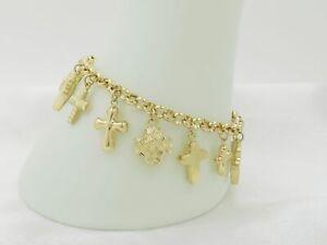 14K Yellow Gold Multi-Textured Cross Charm Bracelet