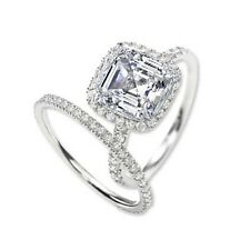 2.81 Ct. Asscher Cut Halo Round Diamond Engagement Ring Set EGL H,VS1 14K Gold