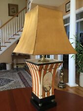 Vintage Worlds Away Hand Painted Metal Tole Table Lamp with Metal Shade