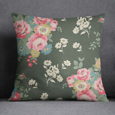 S4Sassy Decorative Pillow Cover Floral Printed Dark Green Cover Throw