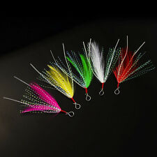10Pack Feather with Luminous Skirt Tail,Hook Assist for Hard baits,Jigging Lures