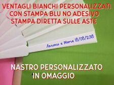 50 VENTAGLI BIANCHI PERSONALIZZATI  MATRIMONIO COLORE BLU  + OMAGGIO