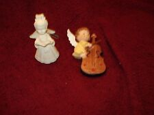 "Vtg Angel Christmas Ornaments /Cello Instrument 4"" /White W Book Flowers 3.5"