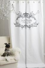 MAISON GRAU 2St. (145x250cm) Gardine Vorhang Raffgardine Landhaus Shabby Vintage