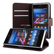 Sony Xperia Z1 compact mini portafoglio custodia marrone scuro wallet case cover