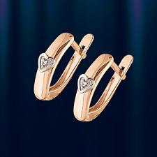 Russische Rose Rotgold 585 kleine HERZ Ohrringe mit Diamanten Glänzend.