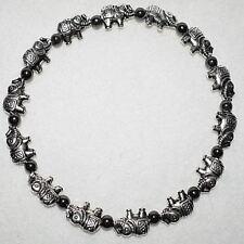 Magnetic Hematite Lucky Elephants 9 Inch Beaded Ankle Bracelet Anklet Jewellery