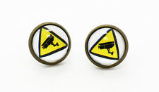 CCTV Earrings Cool Security Camera Warning Sign Signage Unisex Men Hipster Stud