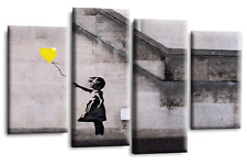 Large BANKSY Art Black Yellow Grey Canvas Prints Balloon Girl 44"
