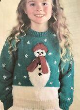"FX4 - Knitting Pattern - Children's DK Snowman Christmas Jumper - 22-34"" Chest"