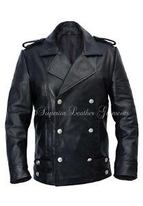 Men's German Black Naval Military Analine Genuine Leather Jacket/Coat