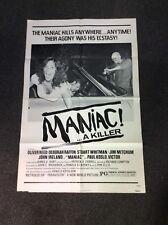 Maniac Movie Poster 27x40