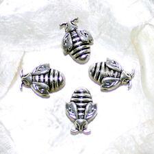 """4 Perles Métal """"ABEILLES"""" - Métal ARGENTE  -  10 X 10 mm - Trou 2 MM"""