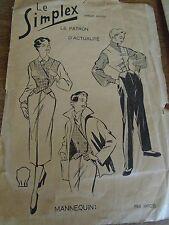 """ANCIEN PATRON """"LE SIMPLEX  """" GILET ELEGANT ... 1940  T 44"""