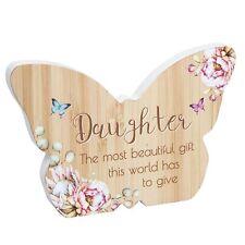 Butterfly Plaque / Sign Gift - Vintage Floral Design - Wooden - Daughter