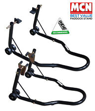 UNIVERSAL MOTORCYCLE SPORTBIKE TRACK DAY GARAGE FRONT & REAR PADDOCK STAND BLACK