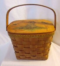 Vintage Woven Wicker Wood Purse Decoupage Lined Tote 1973