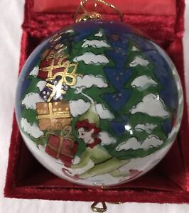 2005 Li Bien Hand Painted Elf Blown Glass Ball Ornament w/Santas sleigh