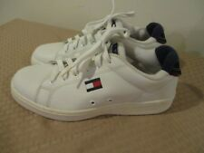 49930f492a633 Vintage 90s Tommy Hilfiger Shoes Mens 8 White Big Flag Logo Spell Out  Sneakers