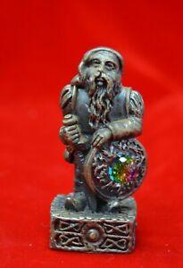 vtg Gorham Pewter Magic Crystal Chess Piece Dwarf of freedom Swarosky crystal