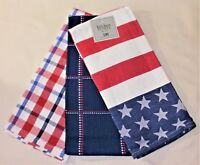 NEW~SET of 3 Red White Blue Americana Kitchen Towels~Top Quality~Flag Patriotic