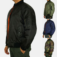 Mens MA1 Classic Bomber Jacket Military Air Force Style Padded Biker Jacket