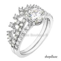 Women's Queen Royalty Princess Crown CZ .925 Sterling Silver Wedding Ring Set