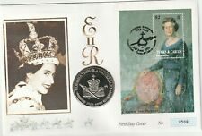 Turks and Caicos Islands 1993 40th Anniv of Coronatioin MS on FDC with 5cr Coin