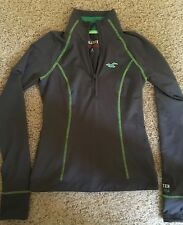 HOLLISTER ATHLETIC QUARTER ZIP - GRAY WITH BRIGHT GREEN - SMALL - NWT