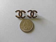 CHANEL CC logo gold and black stud earrings pair