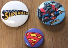 OFFICIAL SUPERMAN X 3 BUTTON PIN 38mm / 25mm BADGES. DC COMICS SUPER HERO OFFER