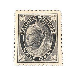 CANADA, SCOTT # 66, 1897-98 1/2c..VALUE BLACK QV W/MAPLE LEAF ISSUE. MVLH