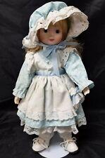 Princess House Krystal Doll, Blonde Blue Dress Porcelain Hands Face w Stand