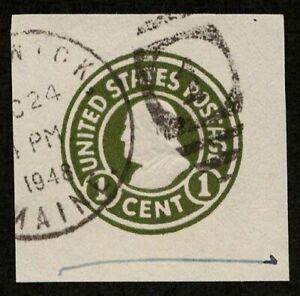 US 1917 #U420a - 1c Green Franklin Cut Square CV $55 Brunswick? Maine #1 cds
