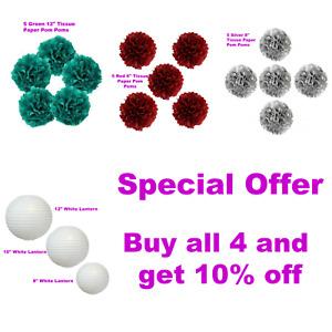 Tissue Paper PomPoms/Lanterns-Red,Green,Silver,White/Wedding/Parties/Birthdays