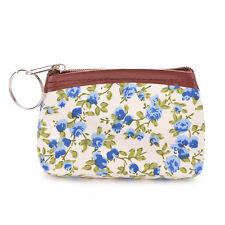 Mini Pastoral Style Canvas Flower Card Makeup Holder Coin Bag Wallet Purse EP