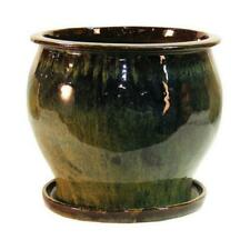 Lees Pottery Db10021-08I 8 in. Green Solid Studio Glazed Planter - pack of 2