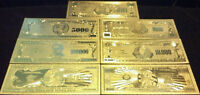 <>FULL SET>AMAZING-10Pc.LOT~COIN+ GOLD$1BILLION-$500 Rep.*Banknotes W/COA+ FLAKE