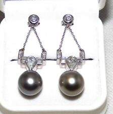 14Kt TAHITIAN BLACK PEARL 12mm 2 Carat Diamond  Gold Drop Earrings Valued $23000