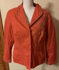 Coldwater Creek Spring Blazer Jacket Ladies Size P14 Button Front Coral