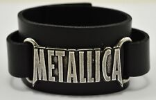 More details for alchemy rocks official merch pewter & leather metallica wristband. made in italy