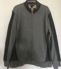 Lands End Men's Two Tone Gray Zip up Sweat Jacket Size XL EUC