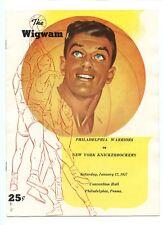 Jan 12 1957 NBA Program New York Knickerbockers at Philadelphia Warriors EX+