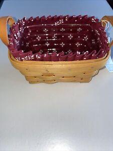 Longaberger Tea Basket With Burgundy Liner & Protector 1998