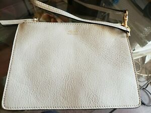 Celine Made in Italy Beige/Orange Leather Pouch Wristlet Makeup Bag Zippered