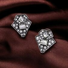 Vintage silver art deco Gatsby geometric white crystal statement stud earrings