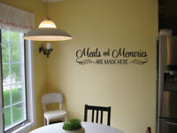 MEALS AND MEMORIES ARE MADE HERE VINYL WALL DECAL KITCHEN SIGN DINING ROOM DECOR