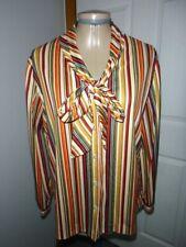 Vintage 70's NPC Fashions Striped Pussy Bow Tie Blouse M/L