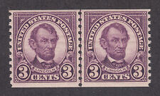 US Sc 600 MNH. 1923 3c violet Lincoln, Joint Line Pair, F-VF